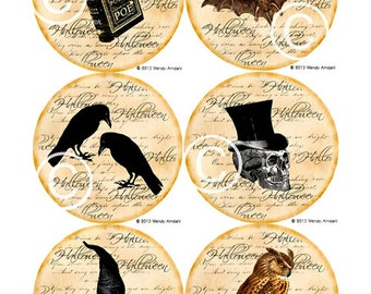 Halloween, Digital Graphics, Halloween Art, Illustration, Vintage Style, Full Color, Set of 6, Round Images, Plate Sized