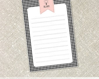 Big Ideas Notepad | Pink Flag Banner on Houndstooth Background Notepads | Personalized Notepad