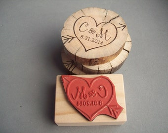 Cupid Heart Arrow Stamp with Personalized Initials and Date - Save the Date, Weddings, Anniversary, Woodland Wedding Rubber Stamp