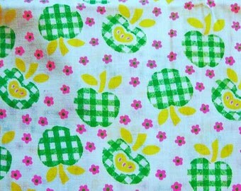 1960s Fabric Fruit Fabric Green Apple Fabric Cotton Fabric Tiny Pink Flowers Vintage Fabric 60s