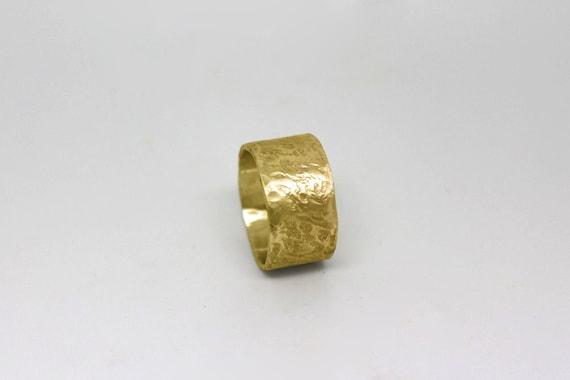 Wide Wedding Band Unique Modern 14k Gold Wedding Ring For Men