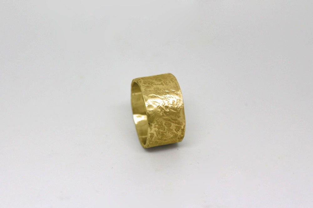 wide wedding band unique modern 14k gold wedding ring for