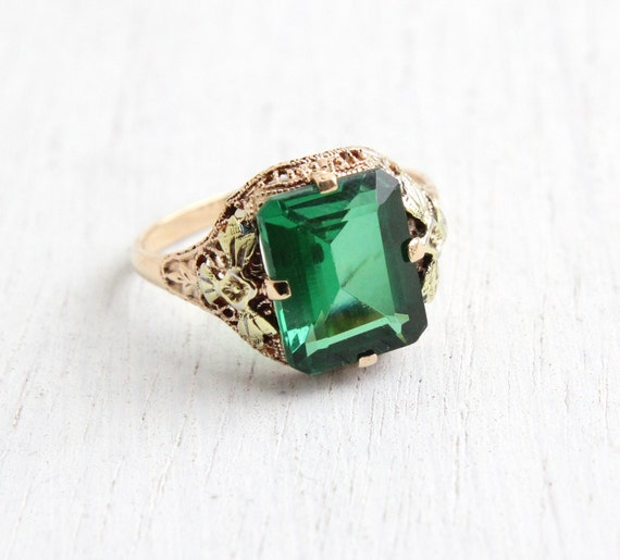 Antique Art Deco 10k Rose & Yellow Gold Green Spinel Stone Ring - Size 6 Emerald Cut Stone with Rose Gold Flower Shoulders Fine Jewelry