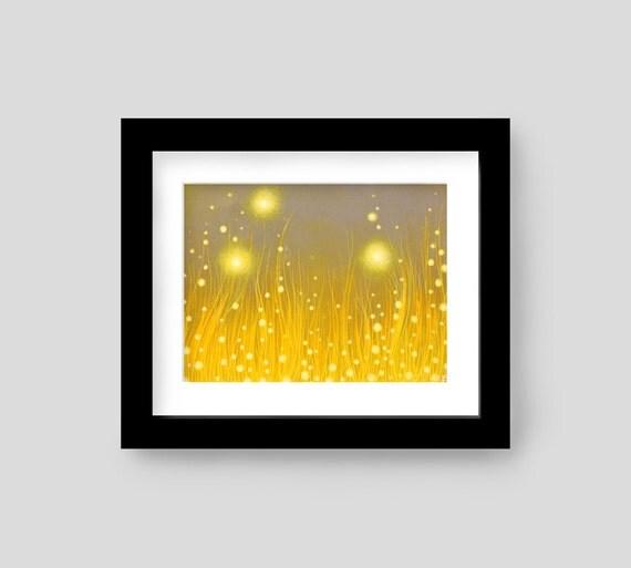 Abstract Fantasy Fireflies Giclee Art Print - Golden Yellow Firefly Summer Wall Decor