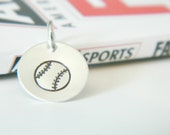 Baseball Charm Hand Stamped Personalized Silver Round: Sports