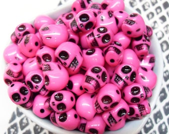 25x Pink Acrylic Skull Beads 12mm by 11mm Bright Shiny Glossy .. Halloween and Day of the Dead