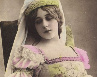 Sleeping Beauty, Gabrielle Robinne, Hand-Tinted Image by Reutlinger, posted 1908
