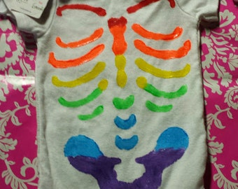 Rainbow - 3 - 6 months - Rib Cage Shirt - Snap Crotch - Stencil - Hand Painted