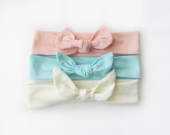 3 Pc. set Pink Ivory and Blue Jersey Knit Knotted Bow Headband Headwrap Baby Toddler Child Adult
