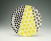 """11-1/2"""" Serving Platter or Plate Polka Dots in Grey, Black, Neon Lime Hand Painted Dinnerware"""