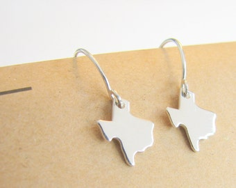 Sterling Silver State Charm Earrings Tiny State Charm Dangle Earrings