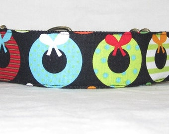 Holiday Wreaths Martingale Dog Collar - 1.5 inch - red green Christmas fun colorful blue lime holiday decoration ribbon polka dots stripes