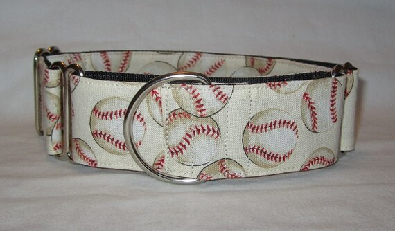 SALE Baseball Martingale Dog Collar - 1.5 Inch - Cream red black sports world series