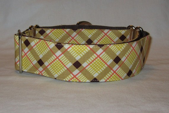 SALE Yellow Plaid Martingale Dog Collar - 1.5 or 2 Inch - yellow brown cream red stripes handsome thanksgiving