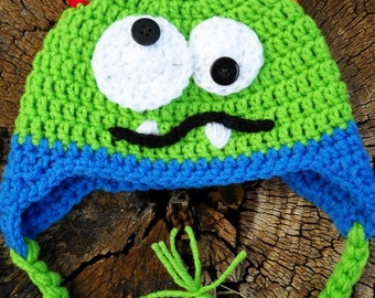 Handmade Crochet Baby boy monster hat with horns, sizes 0 months to Toddler size,