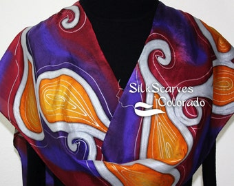 Handpainted Silk Scarf. Purple, Burgundy, Terracotta Handmade Scarf. Mystic Sundance Scarf. Silk Scarves Colorado. 11x60 in. MADE to ORDER