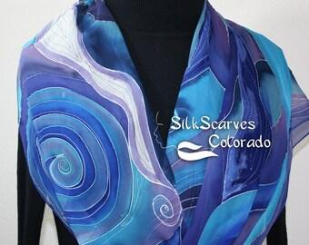 Hand Painted Silk Scarf. Blue & Purple Handmade Chiffon Scarf MERMAID DREAMS, in 3 SIZES. Silk Scarves Colorado. Birthday, Bridesmaid  Gift.