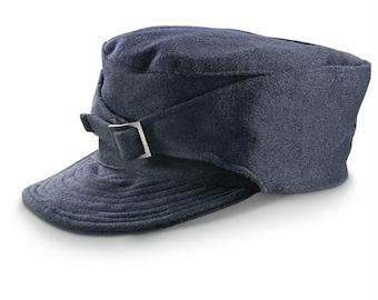 1960's MILITARY STYLE Vintage Italian M43 Navy Blue Wool Winter Hat