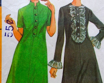 60s Shift Dress Pattern Mandarin Collar Front Ruffle Dress Pattern Bust 31.5 McCalls 9366
