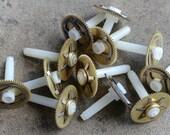 Vintage clock brass gears -- set of 12 -- D18