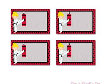 PRINTABLE Girl Karate Party Label Tents (Character of your choice) #543