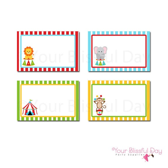 PRINTABLE Circus Label Tents #519