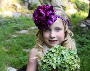 Vintage inspired purple flower headband,purple peony headband, large flower headband, purple baby headband,flower girl headband