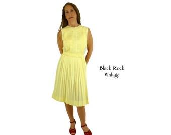 Lemon Yellow Dress, Pleated Sleeveless Dress, Belted Dress Vintage 1960s 1970s  Size Small