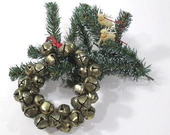 Vintage Brass Jingle Bell Wreath - 36 Bells - Holiday Decor, Christmas Wall Hanging