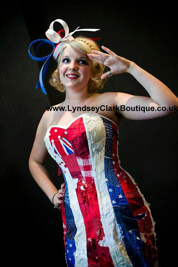 World cup corset dress. Patriotic, Great Britain, union jack flag. Alternative clothing. Jubilee/ Olympic/ UK size 14