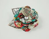 Geisha Rose and Copper Leaves Button Brooch/Pin.  Recycled Soda Can Art.