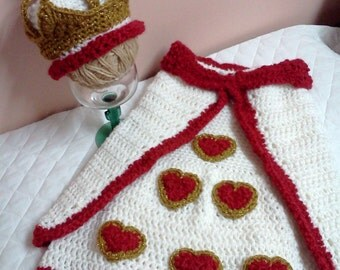 Queen of Hearts Cocoon Costume Photo Prop Newborn to 2 months Set Hand Crocheted