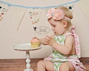 Baby Headband, Vintage Inspired Headband Satin and Organza Rosette Headband Flower Fascinator Couture Baby Toddler Photo Prop NO.14-230