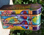 Wine Box, Wine Storage, Double Bottles, Gilded, Painted and Varnished Box, One Of A Kind