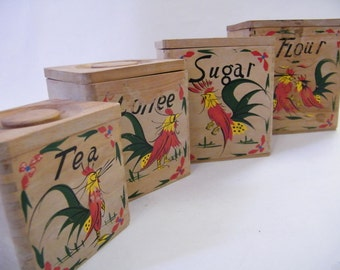 Vintage Kitchen Canisters Roosters 1950s