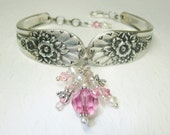 Spoon Bracelet, Pink Crystals, White Pearls, Dragonflies, Silverware Bracelet, Spoon Jewelry, Jubilee 1953