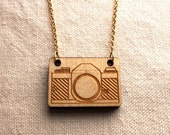 Vintage Camera Necklace - laser cut wood, 18-inch Gold-plated chain