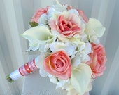 Wedding bouquet coral rose white real touch calla lily bridal bouquet