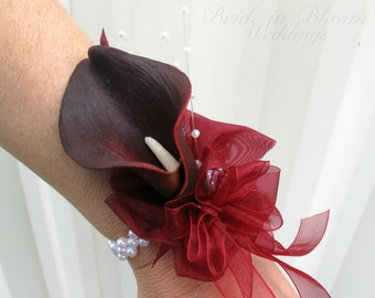 Red black calla lily wrist corsage pearl bracelet, Wedding corsages