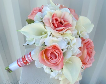 Wedding bouquet - Coral rose white real touch calla lily Bridal bouquet - Brides bouquet