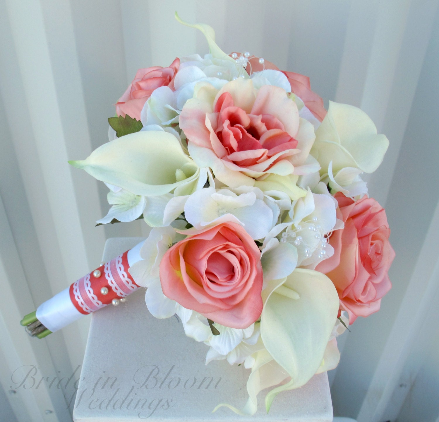 Wedding Flowers Roses And Lilies : Wedding bouquet coral rose white real touch calla lily