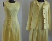 60's 2 Piece Dress Suit Yellow Jerell of Texas 1960's Mad Men Dress and Jacket Peter Pan Collar