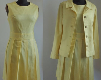 60's Yellow Dress Suit 2 Piece Jerell of Texas 1960's Mad Men Dress and Jacket Peter Pan Collar