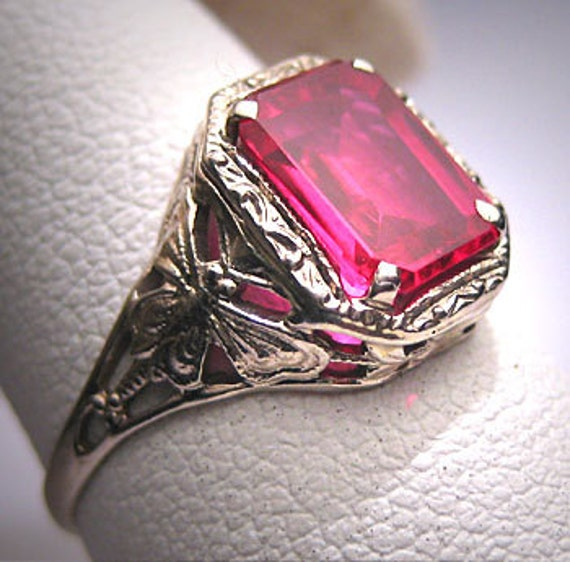 Antique Ruby Ring Wedding Vintage Art Deco By