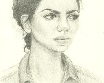 """Portrait of a Woman - """"Intensity"""" Pencil Portrait Print - 8 x 10"""