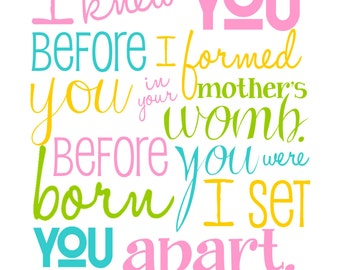 I Knew You Before I Formed You  - Jeremiah 1.5 - Bible Verse - Pink Yellow Aqua Green - Christian Art - Baptism Gift - Christening Gift