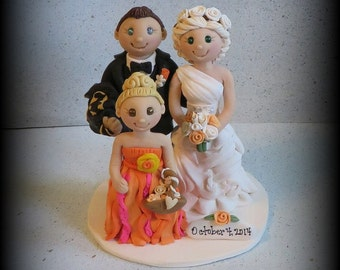 Wedding Cake Topper, Custom Cake Topper, Bride and Groom with Little Girl, Personalized, Polymer Clay Keepsake