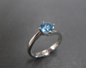 Classic Blue Topaz Engagement Ring in 14K White Gold