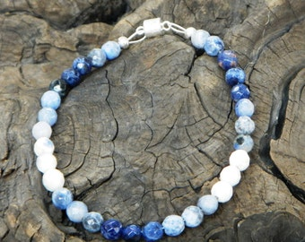 """Navy blue and white sodalite bracelet 8"""" long magnetic clasp denim blue semiprecious stone jewelry packaged in a colorful gift bag 10369"""