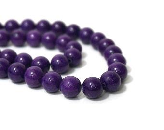 10mm Mountain Jade, Round Gemstone Beads, Grape Purple Candy Jade, Full & Half Strands  (861S)